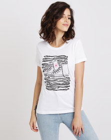 Converse Lace Sneaker Crew Tee White