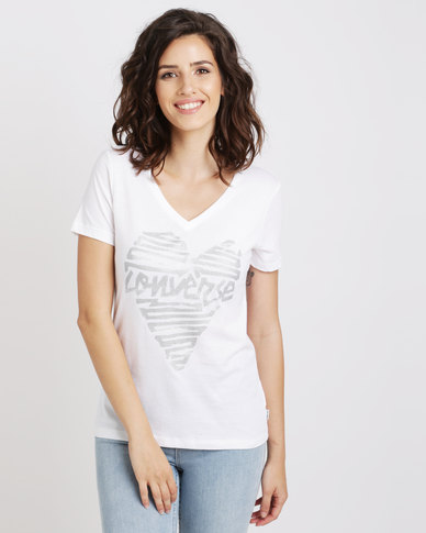 Converse Womens Metallic Heart V-neck White