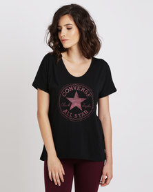 Converse Womens Dot Camo Chuck Patch Fill Femme Tee Black