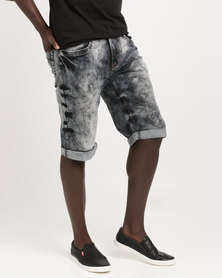 K7Star Canna Denim Shorts Blue Mottled