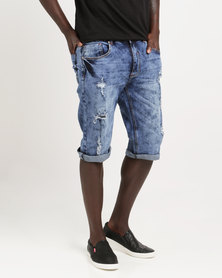 K7Star Dutch Denim Shorts Blue Mottled