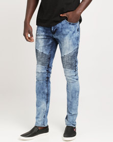 K7Star Biker Jeans Blue Mottled
