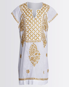 GGirls Top with Embroidered Detail White/Gold