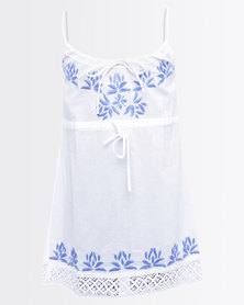 GGirls Top With Embroidered Detail White/Blue