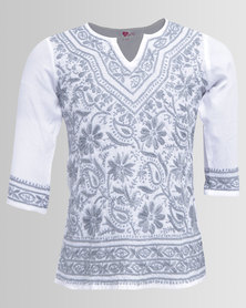 GGirls Long Sleeve Top With Embroidered Detail White/Grey