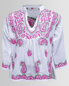 GGirls Long Sleeve Top With Embroidered Detail White/Lilac