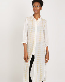 G Couture Printed Long Length Tunic Stone/White