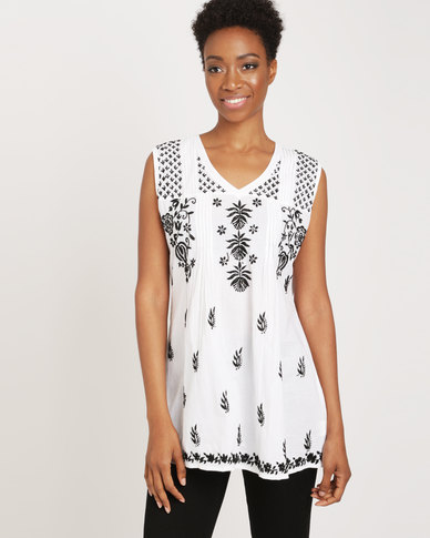 G Couture Cotton Sleeveless Top White & Black