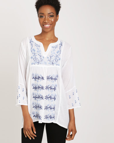 G Couture Cotton Tunic Top White