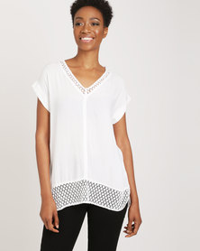 G Couture Crochet Edged Casual Top White