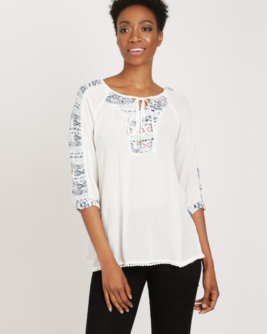 G Couture Gypsy Top With Inset White