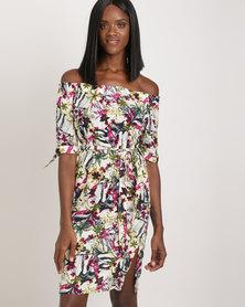 Holly Blue Ruffle Neck Dress Plum Floral