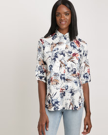 Holly Blue Hawaii Print Pocket Shirt Multi