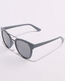 You & I Plastic Aviators Sunglasses Mirror Lens Silver