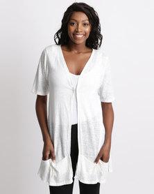 UB Creative Knit Jacket Pockets White