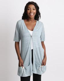 UB Creative Knit Jacket Pockets Blue
