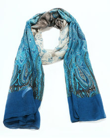 Queenspark Updated Paisley with Border Print Poly Scarf Teal