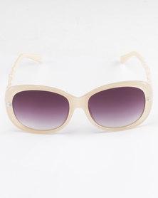 Queenspark Flower Embossed Sunglasses Cream