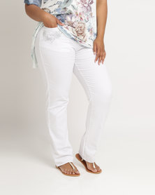 Queenspark Plus Full Length Embroidered Denim Jeans White
