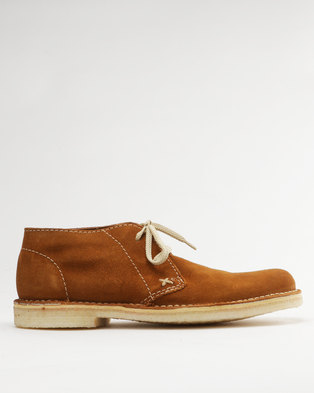 Grasshoppers Desert Suede Casual Lace Up Boot Biscuit