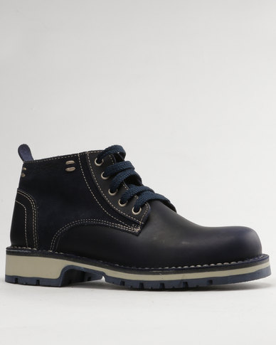 Grasshoppers Ranger Leather Casual Lace Up Boot Cobalt/Navy