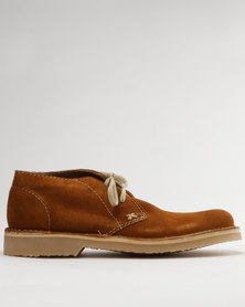 Grasshoppers Hudson Suede Casual Lace Up Ankle Boots Biscuit