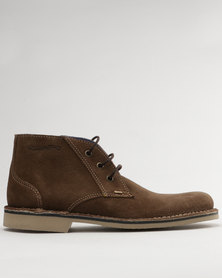 Grasshoppers Kyle Suede Casual Lace Up Ankle Boots Coffee