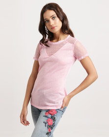 Sissy Boy Riha Linen Tee With Mesh V And Back Tie Detail Pink