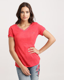 Sissy Boy Lanael Linen Tee With Crochet Lace Insets And Back Detail Red