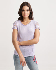 Sissy Boy Lierro One Up With Lace Sleeves And Inset Tee Lilac