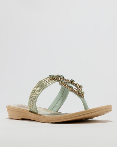 Grendha Ladies Casual Sandals Green Multi