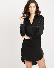 Utopia Hilo satin Shirt Black