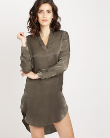 Utopia Hilo satin Shirt Olive