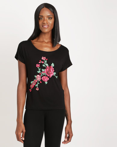 Utopia Tee with Embroidery Black