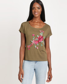 Utopia Tee with Embroidery Olive