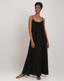 Utopia Georgette Maxi A-line Dress Black