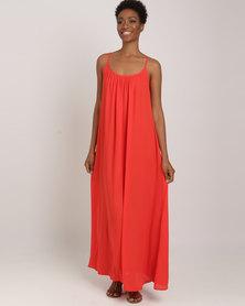 Utopia Georgette Maxi A-line Dress Red