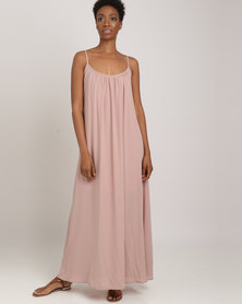 Utopia Georgette Maxi A-line Dress Pink