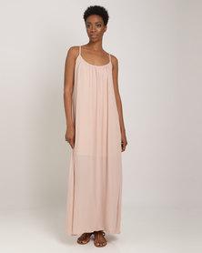 Utopia Georgette Maxi A-line Dress Nude