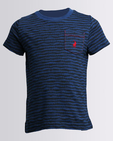 Polo Boys Short Sleeve Crew Neck All Over Print Tee Blue