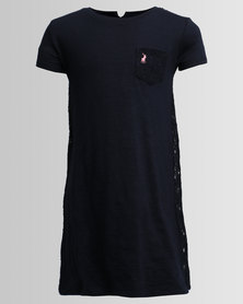 Polo Girls Anna Lace Back Dress Navy
