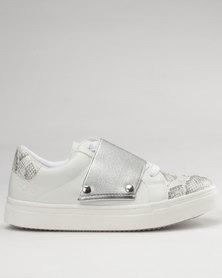 Bronx Women Tess  Low Cut Sneakers White/Silver