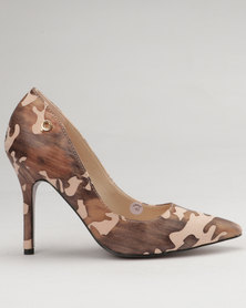 Bronx Women Marie Pointy Court Shoe Printed Brown