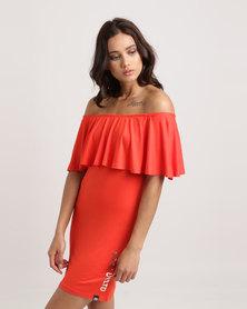 ECKÓ Unltd Off Shoulder Dress Orange