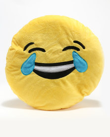 Emoji Crying Laughing Cushion Yellow