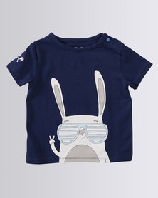Parental Instinct Stain Resistant Cool Rabbit Tee Navy