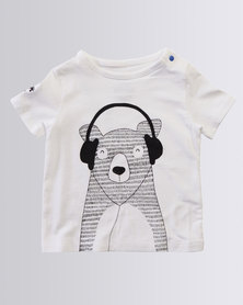 Parental Instinct Stain Resistant Musical Bear Tee White