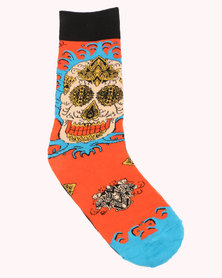 Happy Socks Megan Massacre Leaf Skull Limited Edition Socks Multi
