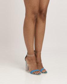 Plum Pearl Heel Sandals Blue