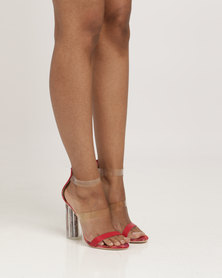 Plum Pearl Heel Sandals Burgundy